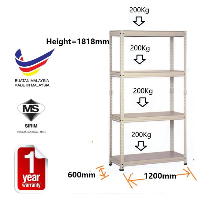Sirim Certified 600 x 1200 x 1818mm ( large ) Storage Boltless Rack