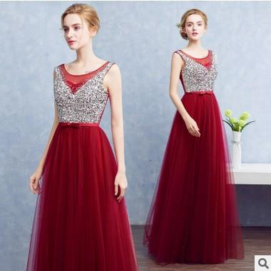 Size S-XL ~ Wine Red A Line Wedding Dresses Vestido  fashion long Dres