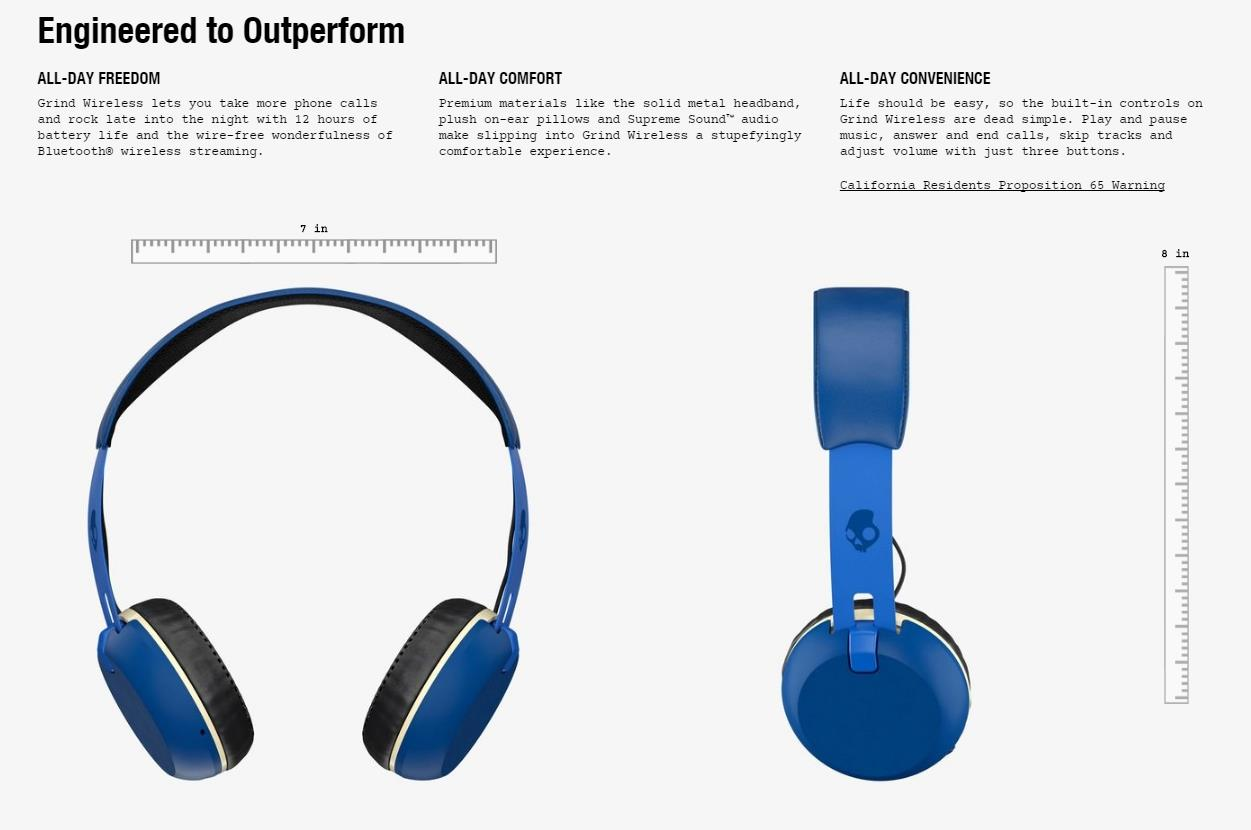 SKULLCANDY GRIND WIRELESS BT HEADPHONE (ROYAL BLUE) S5GBW-J472