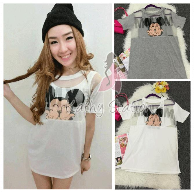 Sleeve Mickey Mouse Dress [10146]
