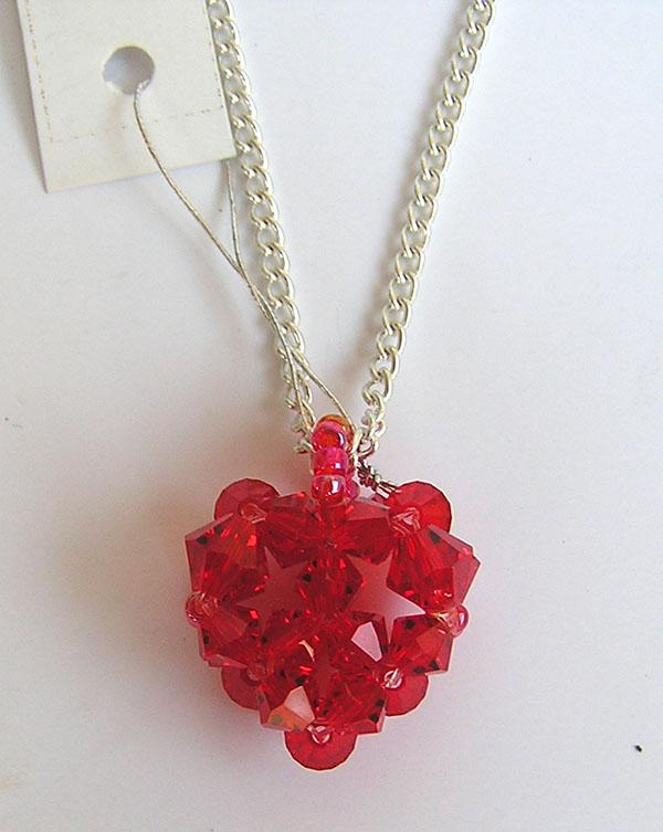 small red heart pendant with silver chain, using Swarovski element