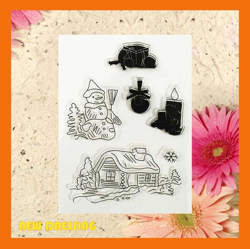 Snowman and House Clear Stamp - Zakka/Diary/Photobook DIY