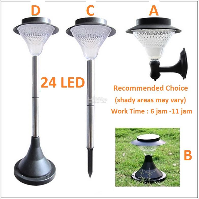 Solar Powered 24 Led Outdoor Wall/Lawn/Stand Light Waterproof >8 hours