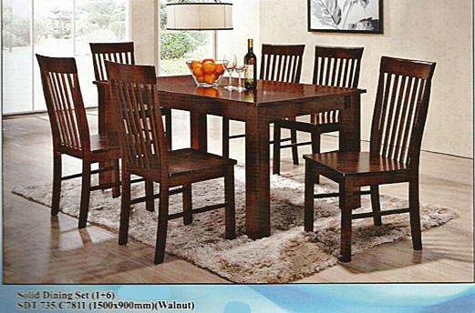 SOLID DINING SET TABLE AND CHAIR 1+6 MODEL  - SDT 735/C7811
