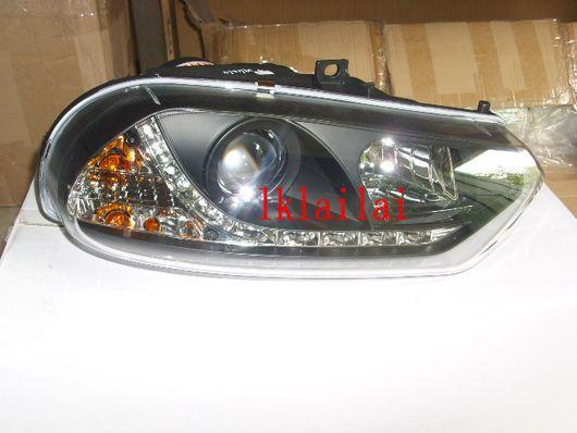 SONAR ALFA 156 Projector Head Lamp Black Housing [DRL R8 Look]