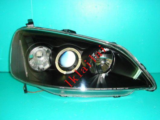 SONAR Honda Civic S5A '01-03 Projector Head Lamp + LED Ring [Black]