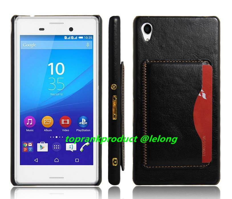 Sony Xperia Z3+ Z4 Card Solt Leather Stand Back Case Cover Casing
