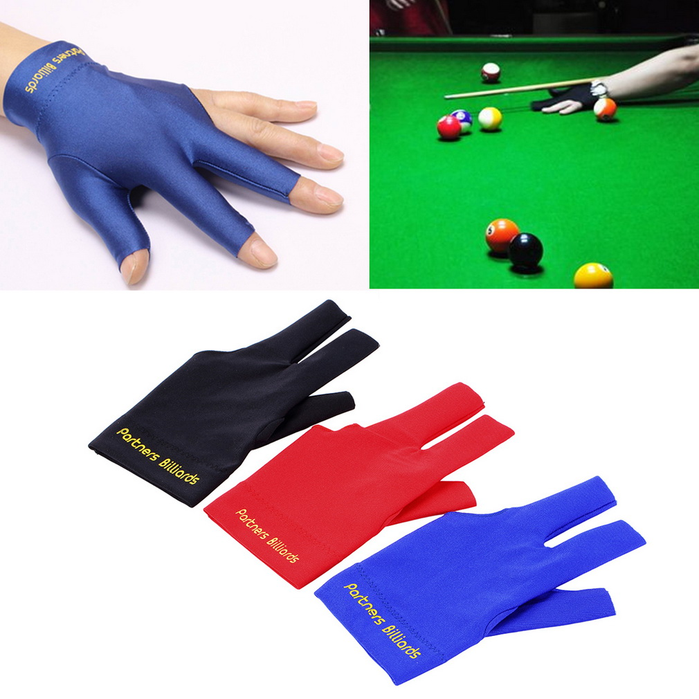 Spandex Snooker Billiard Cue Glove Pool Left Hand Open Three Finger Ac..