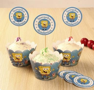 Spongebob Cupcake Wrapper and Topper (12 pcs)