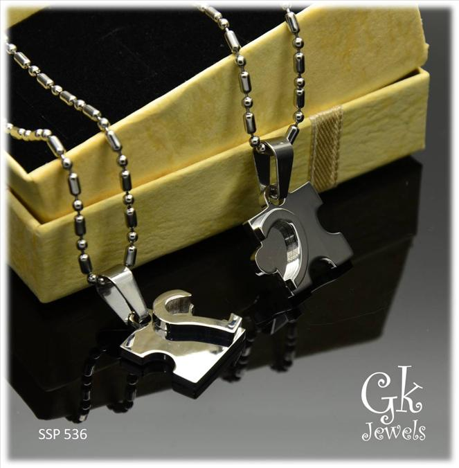 Stainless steel couple pendant SSP 536 ( include Chain)