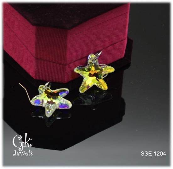 Stainless steel Swarovski Earring SSE 1204 (White Star Fish)