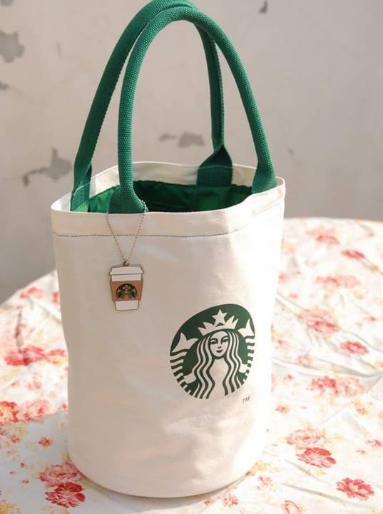 Starbucks Japan Canvas Tote Bag With Charms Limited Authentic