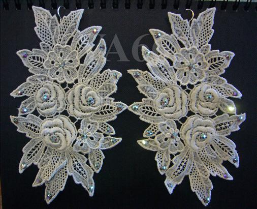 Statement Big Chunky Chandelier White Lace Long Earrings 925 silver Bl..