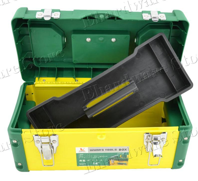 Steel Plastic Tools Box With Tray & Compartment Storage (W047X)