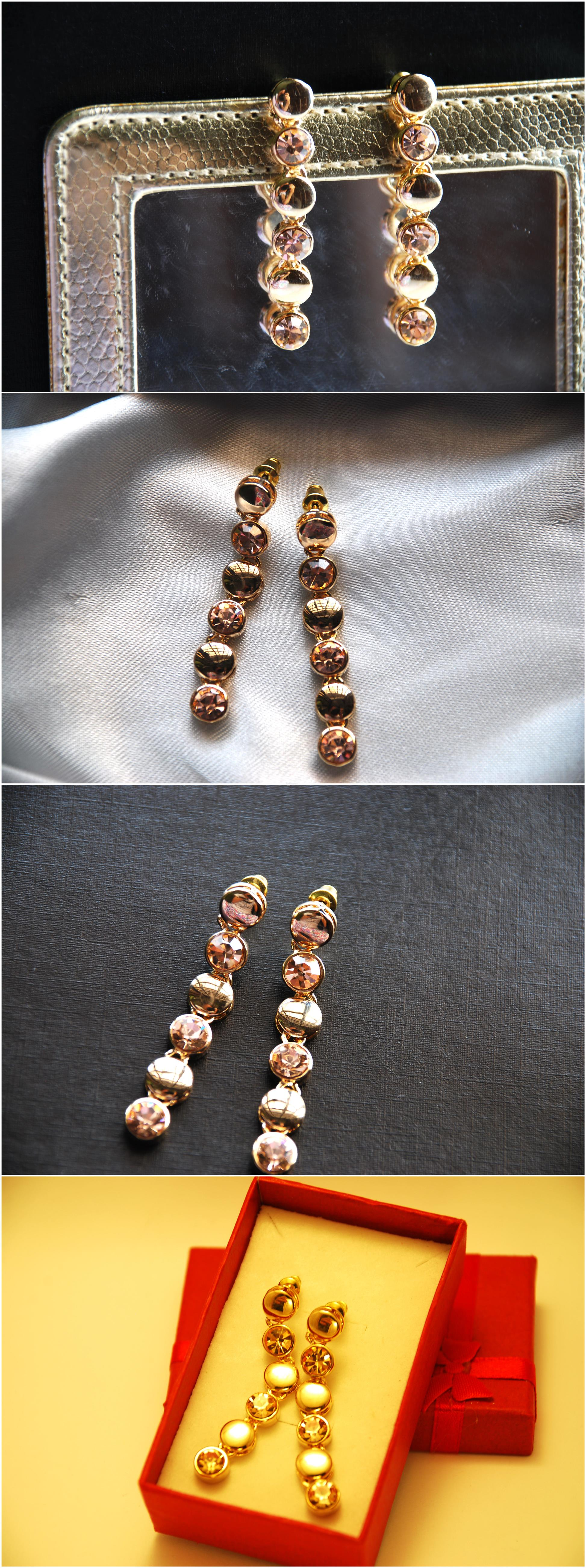 [Stock Clearance] Gold plated Dangling Rhinestone Long Chain Earring