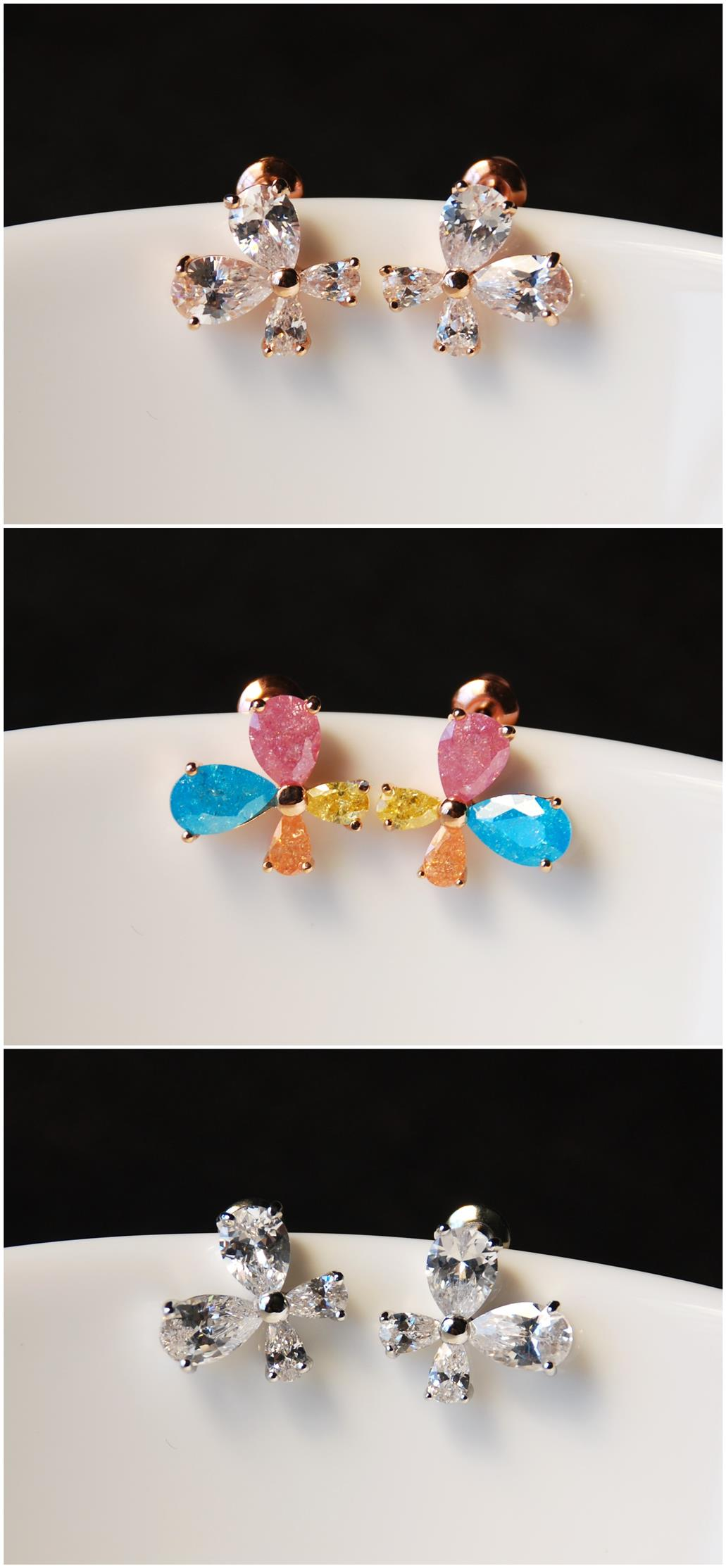 [Stock Clearance] Korean Earrings -Crystal & Rhinestone Butterfly #1