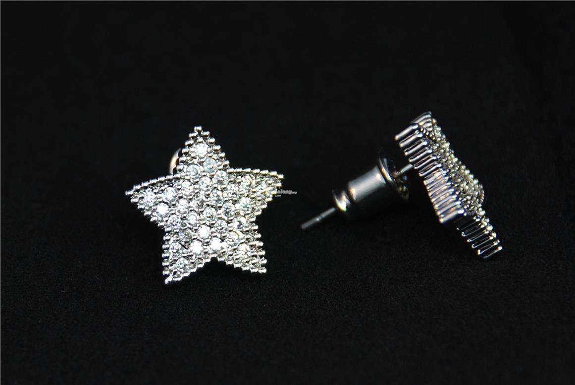 [Stock Clearance] Korean Earrings - Gold plated Crystal Star #1