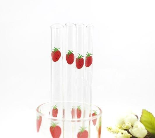 Strawberry Transparent Glass Straw Reusable Cute Free Brush