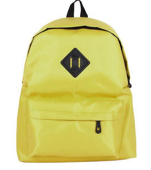 Student-style Pure Colour Backpack 15476 (Dark Yellow)