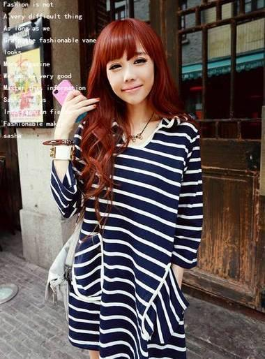 Student-style Stripe Loose Blouse (Dark Blue)