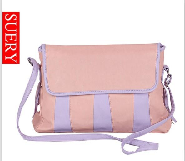 Stylish Stripe Color Matching Bag Pink