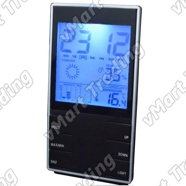 Stylish Weather Station  Humidity Hygrometer Thermometer Alarm Clock