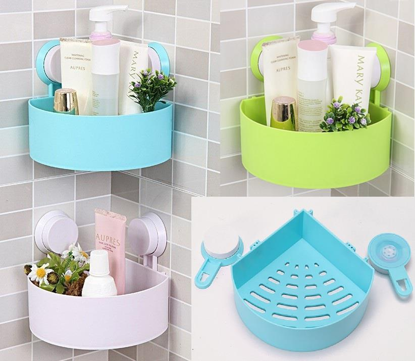 Suction Bathroom Toilet Kitchen Corner Rack Shelf Storage Organizer
