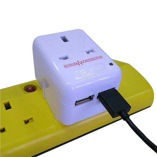 SUM 2 Way 3 Pin Adaptor with 2 USB Chargers