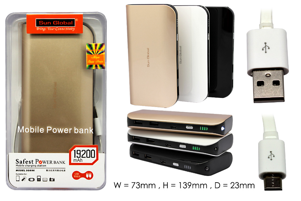 Sun Global Power Bank 7200mAh 13500mAh Power
