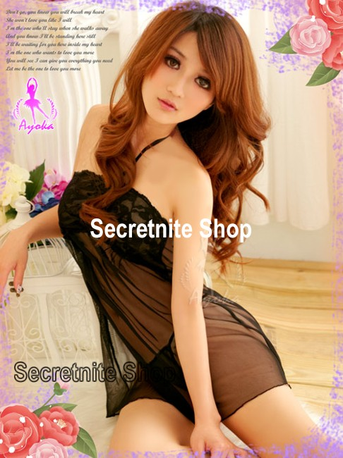 Sun@ Sexy Black Babydoll with G-string S-573