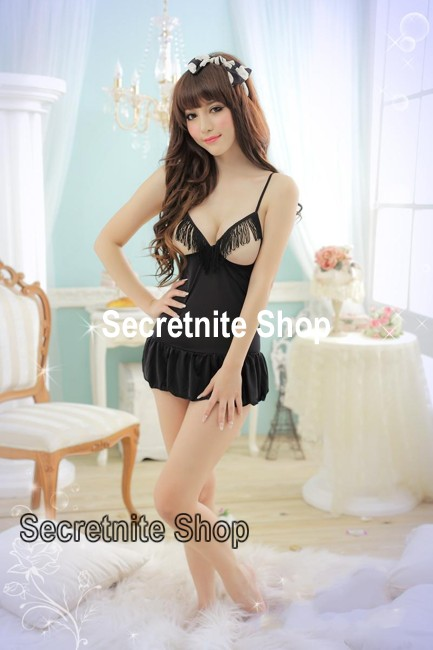 Sun @ Sexy Black Babydoll Lingerie with G-string S-937
