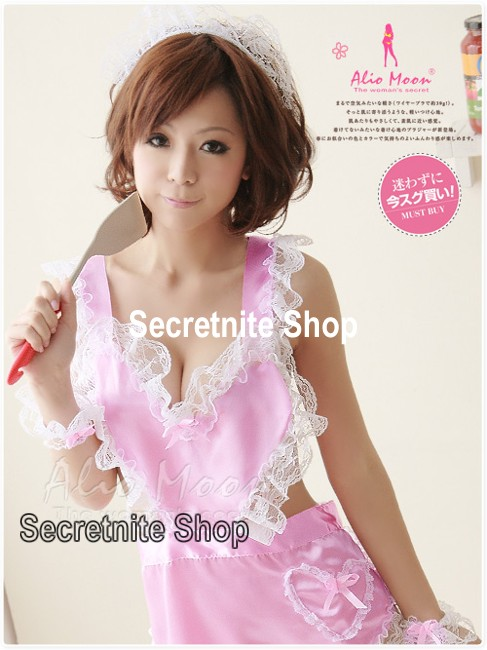 Sun@ Sexy Lingerie Pink Costumes Maid Aprons S-327