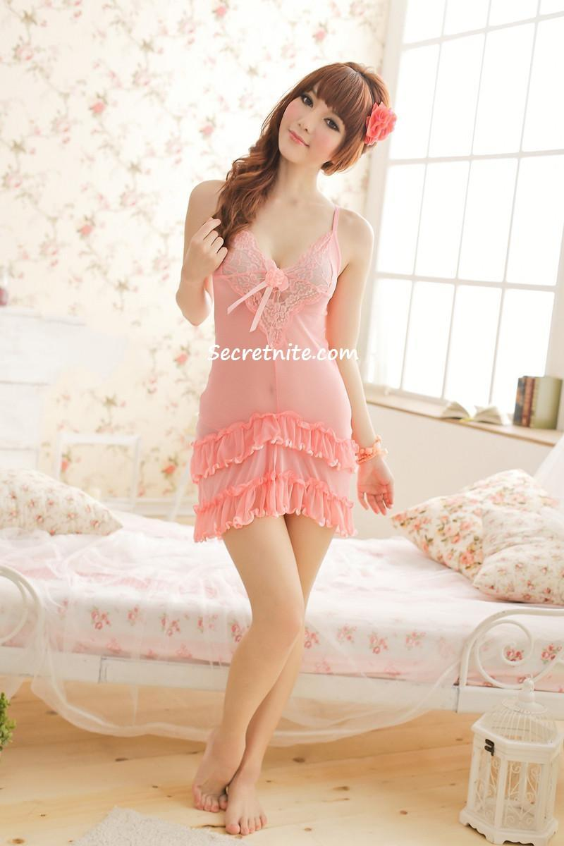 Sun @  Sexy Pink Babydoll Lingerie with G-string S-872