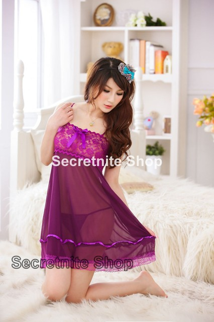 Sun @ Sexy Purple Babydoll Lingerie with G-string S-1085