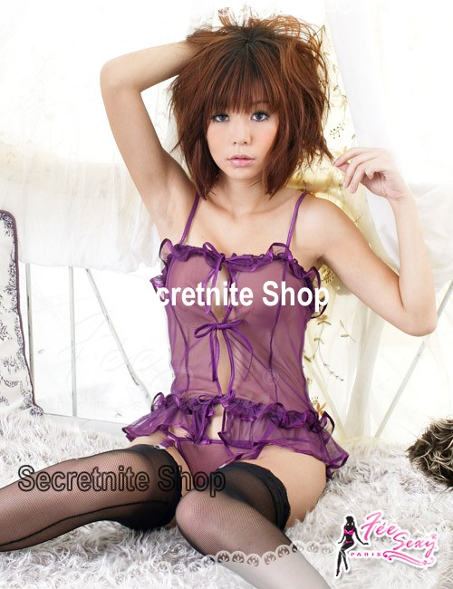 Sun@ Sexy Purple Corset with G-string with attach Garter Belt S-428