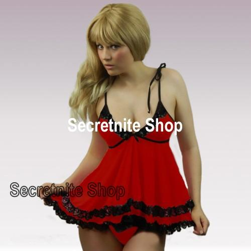 Sun @ Sexy Red Babydoll Plus Size XL with G-string PL-24 (XL)
