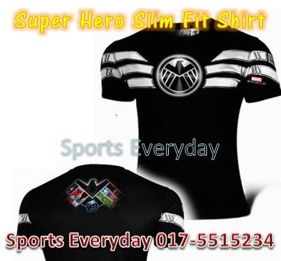 Super Hero Slim Body Fit Compression Shirt baju - SHIELD 2(elastic)