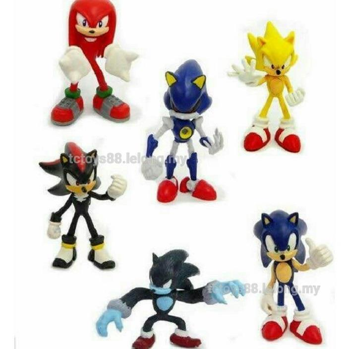 Super Sonic G2 Figure. Figurine Toy. Cake Topper 6 pcs set.