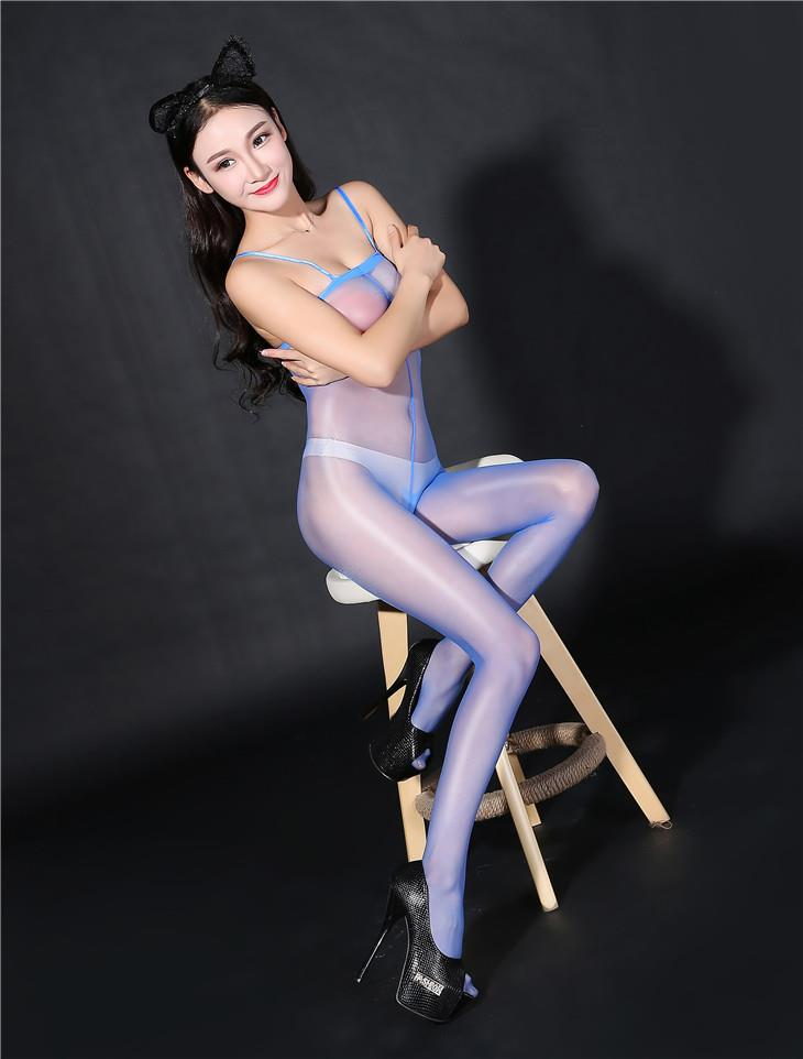 Super Thin Sexy Transparent Sling Open Type Stocking (Blue)