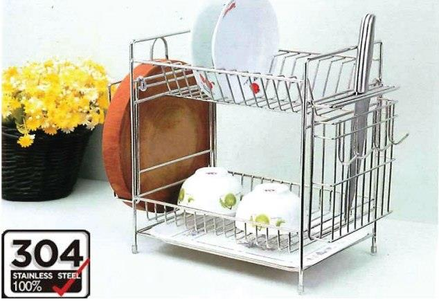 SUS 304 Stainless Steel 2 Tiers Dish Rack ( Free Delivery )