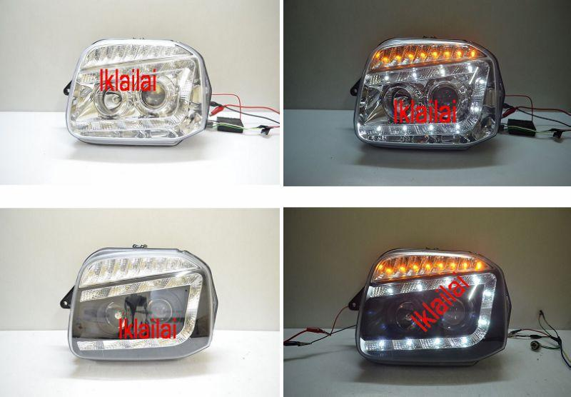 SUZUKI JIMNY Projector Head Lamp DRL R8 With LED Signal Chrome Black