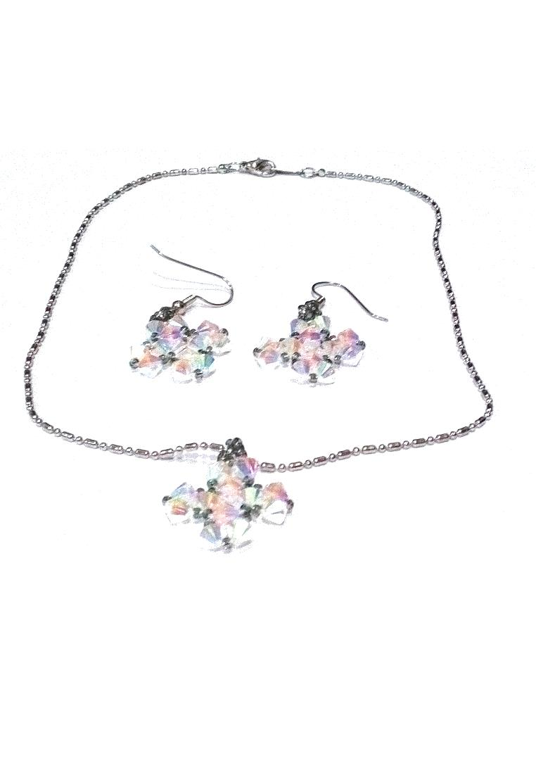 Swarovski Crystal AB 2X Earring & Necklace Set