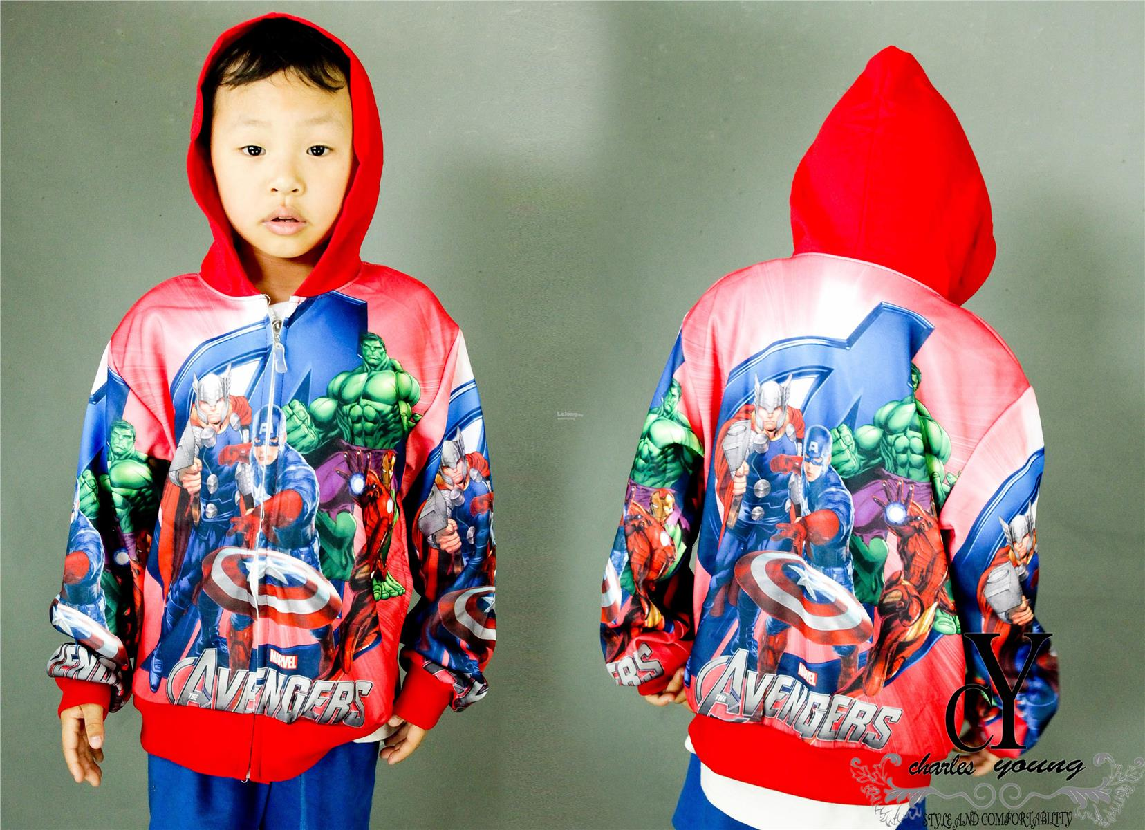 SWEATER,JACKET,KIDS,BOYS,MARVEL,HULK,THOR,IRONMAN,CAPTAIN,AMERICA