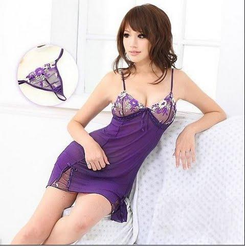 Sweet Purple Sexy Short dress + T-panties 11415