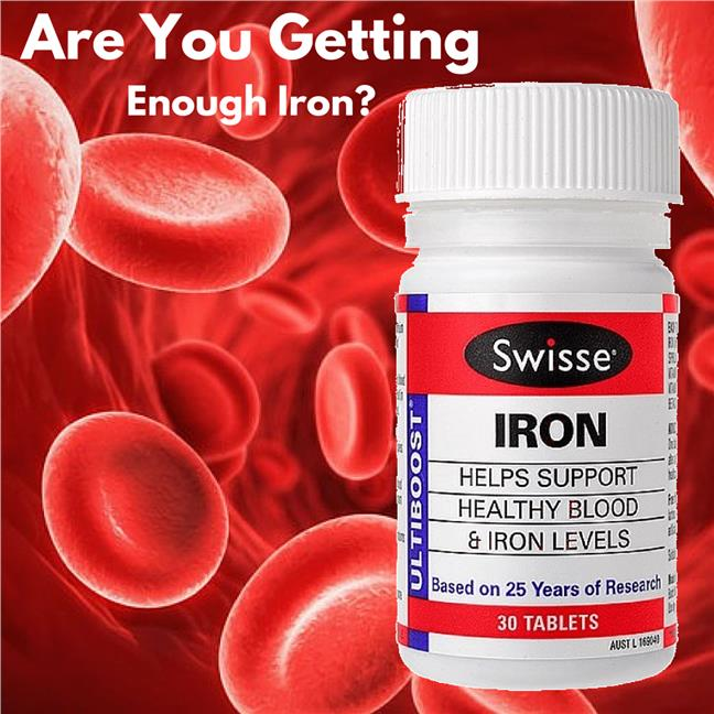 Swisse, Iron with Vitamin C, 30 Tablets (Anemia, Blood, Period)