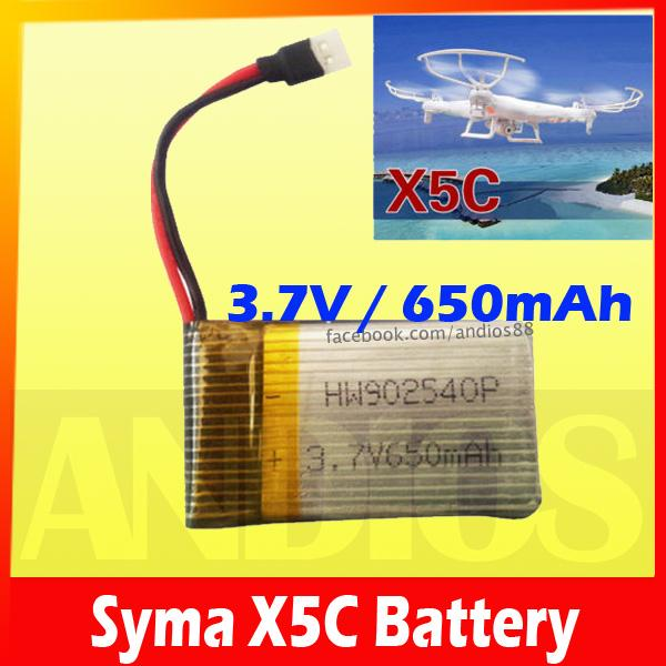 Syma X5C Spare Part 3.7v 650mAh Upgrade Lipo Battery X5C-1 Quadcopter