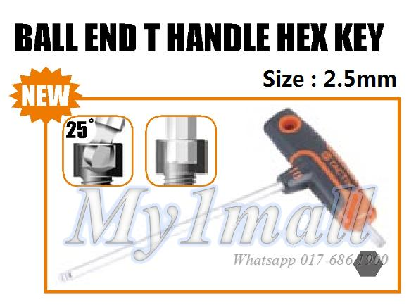 TACTIX 206303 T HANDLE BALL END HEX KEY 2.5MM