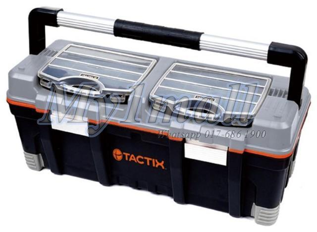 TACTIX 320312 FULL LENGTH HANDLE TOOL BOX WITH 2PC ORGANIZER 26 IN
