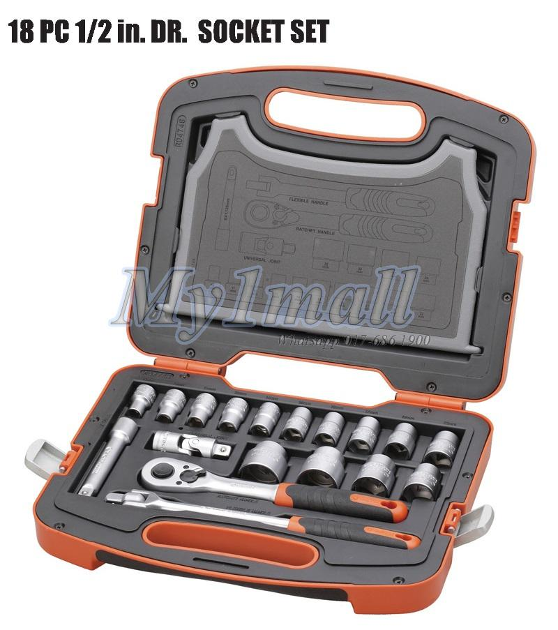 "TACTIX 365015 SOCKET SET 18PC 1/2""DR"
