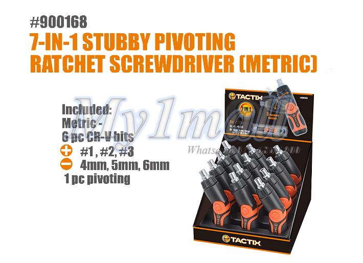 TACTIX 900168 7 IN 1 STUBBY PIVOT SCREWDRIVER METRIC